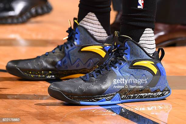 The sneakers of Klay Thompson of the Golden State Warriors are seen during a game against the New Orleans Pelicans at Smoothie King Center on October...