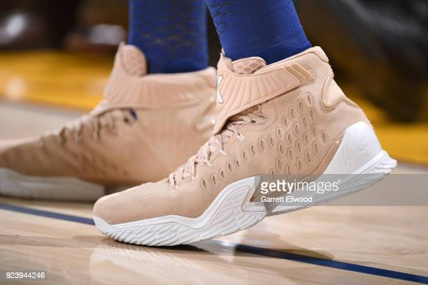 The sneakers of Klay Thompson of the Golden State Warriors as seen during the game against the Oklahoma City Thunder on February 24 2018 at ORACLE...