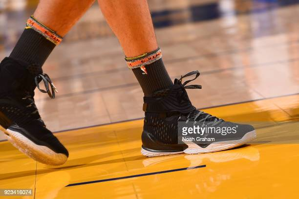 The sneakers of Klay Thompson of the Golden State Warriors during the game against the LA Clippers on February 22 2018 at ORACLE Arena in Oakland...