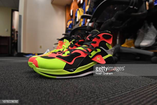 The sneakers of Klay Thompson of the Golden State Warriors in the locker room before the game against the Los Angeles Lakers on December 25 2018 at...