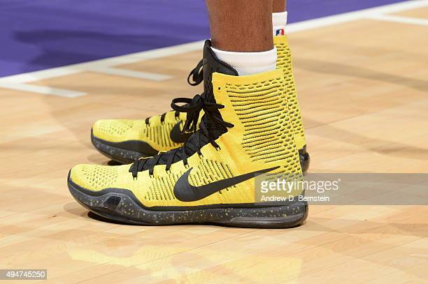 The sneakers of Kobe Bryant of the Los Angeles Lakers before the game against the Minnesota Timberwolves on October 28 2015 at STAPLES Center in Los...
