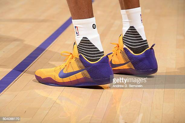 The sneakers of Kobe Bryant of the Los Angeles Lakers during the game against the Oklahoma City Thunder on January 8 2016 at STAPLES Center in Los...