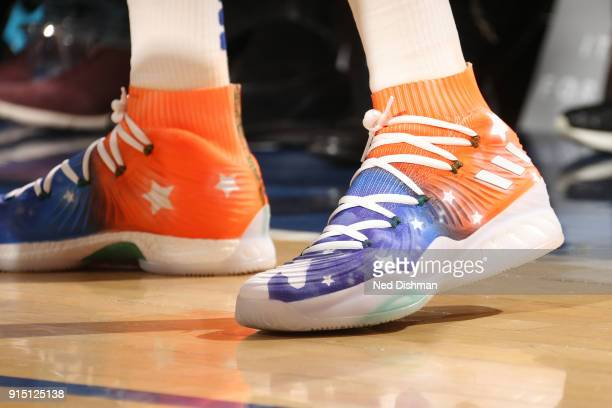 The sneakers of Kristaps Porzingis of the New York Knicks as seen during the game against the Milwaukee Bucks on February 6 2018 at Madison Square...