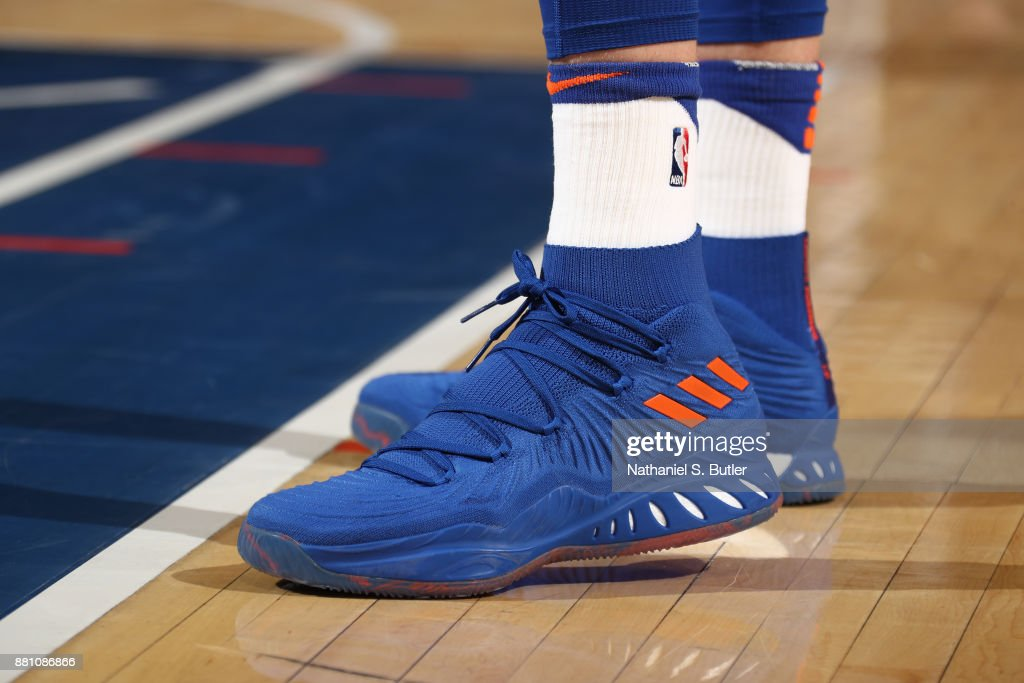 The sneakers of Kristaps Porzingis #6 of the New York Knicks during the game against the Portland Trail Blazers on November 27, 2017 at Madison Square Garden in New York, New York.