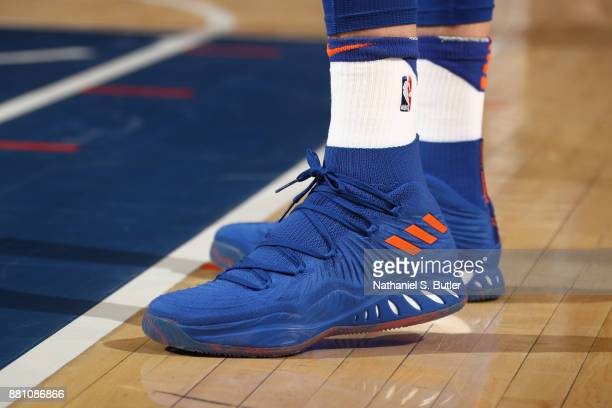 The sneakers of Kristaps Porzingis of the New York Knicks during the game against the Portland Trail Blazers on November 27 2017 at Madison Square...