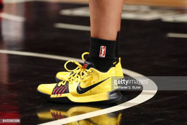 The sneakers of Kristi Toliver of the Washington Mystics are seen during the game against the New York Liberty in Round Two of the 2017 WNBA Playoffs...