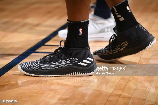 The sneakers of Kyle Anderson of the San Antonio Spurs during the game against the Denver Nuggets on February 13 2018 at the Pepsi Center in Denver...
