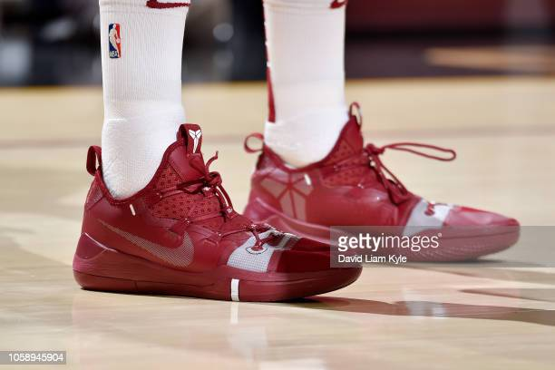 the sneakers of Kyle Korver of the Cleveland Cavaliers are seen against the Oklahoma City Thunder on November 7 2018 at Quicken Loans Arena in...