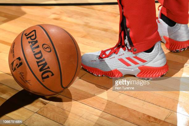 The sneakers of Kyle Lowry of the Toronto Raptors during the game against the Golden State Warriors on November 29 2018 at the Scotiabank Arena in...