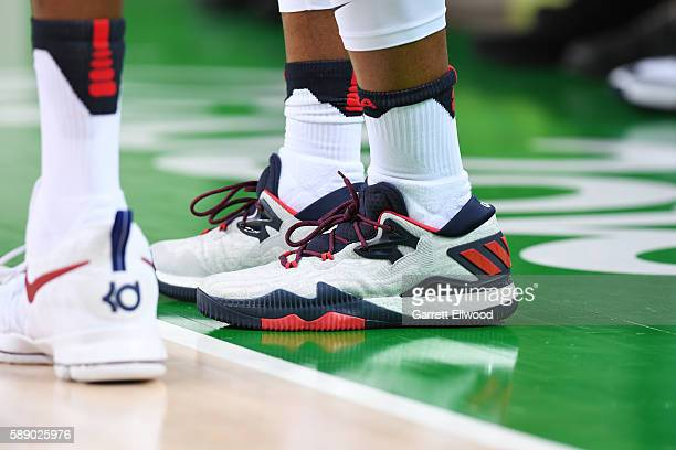 The sneakers of Kyle Lowry of the USA Basketball Men's National Team during the game against Serbia on Day 7 of the Rio 2016 Olympic Games at Carioca...