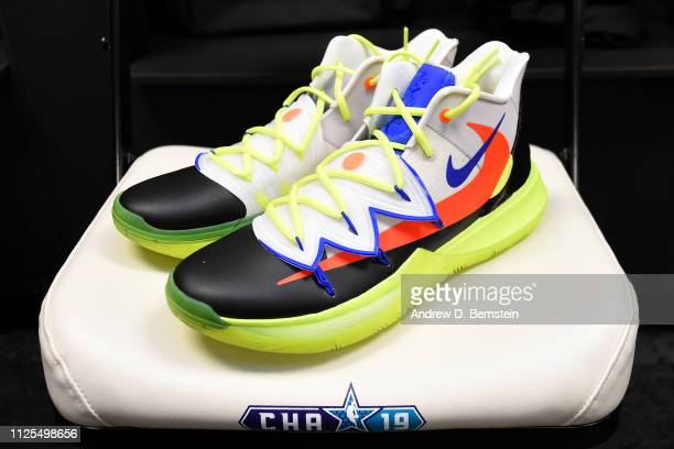 The sneakers of Kyrie Irving of Team LeBron before the 2019 NBA AllStar Game on February 17 2019 at the Spectrum Center in Charlotte North Carolina...