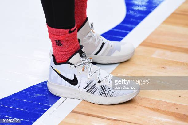 The sneakers of Kyrie Irving of Team LeBron during NBA AllStar Media Day Practice as part of 2018 NBA AllStar Weekend at the Los Angeles Convention...