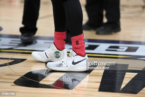 The sneakers of Kyrie Irving of Team LeBron during the NBA AllStar practice as part of the 2018 NBA AllStar Weekend on February 17 2018 at the...
