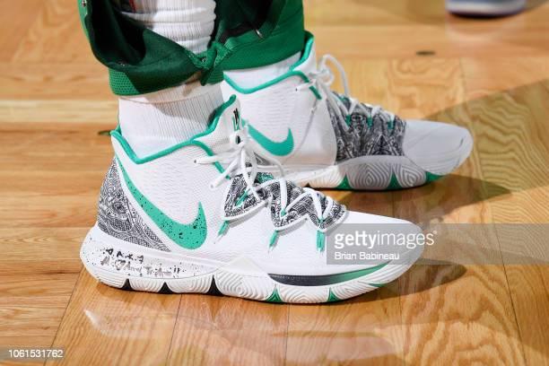the sneakers of Kyrie Irving of the Boston Celtics are seen against the Chicago Bulls on November 14 2018 at the TD Garden in Boston Massachusetts...