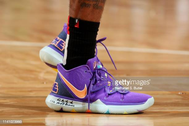 The sneakers of Kyrie Irving of the Boston Celtics are seen against the Milwaukee Bucks during Game Three of the Eastern Conference Semi Finals of...
