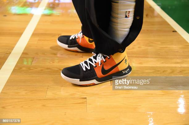 The sneakers of Kyrie Irving of the Boston Celtics are seen before the game against the Sacramento Kings on November 1 2017 at the TD Garden in...