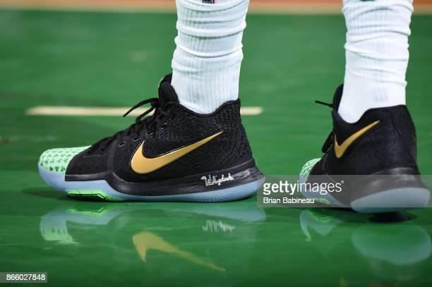 The sneakers of Kyrie Irving of the Boston Celtics are seen during the game against the New York Knicks on October 24 2017 at the TD Garden in Boston...