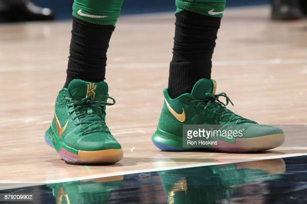 The sneakers of Kyrie Irving of the Boston Celtics are seen during the game against the Indiana Pacers on November 25 2017 at Bankers Life Fieldhouse...