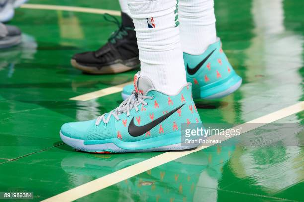 The sneakers of Kyrie Irving of the Boston Celtics are seen during the game against the Denver Nuggets on December 13 2017 at the TD Garden in Boston...