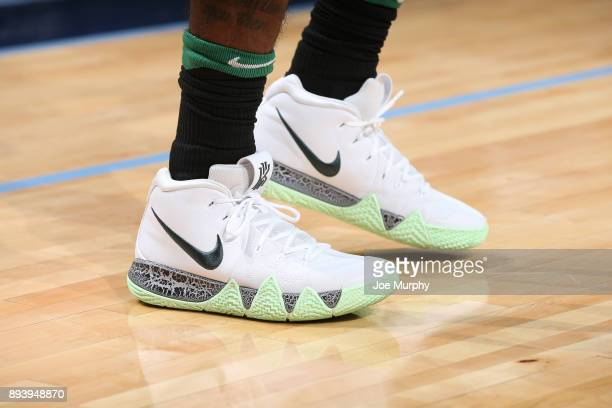 The sneakers of Kyrie Irving of the Boston Celtics are seen during the game against the Memphis Grizzlies on December 16 2017 at FedEx Forum in...