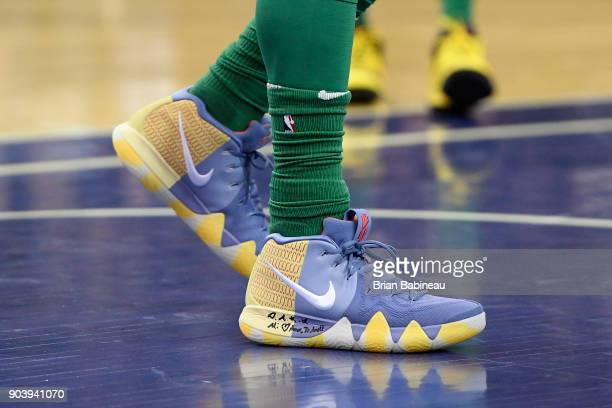The sneakers of Kyrie Irving of the Boston Celtics are seen during the game against the Philadelphia 76ers as a part of the 2018 NBA London Game at...