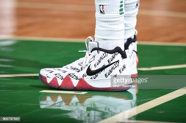 The sneakers of Kyrie Irving of the Boston Celtics are seen during the game against the New Orleans Pelicans on January 16 2018 at the TD Garden in...