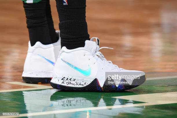 The sneakers of Kyrie Irving of the Boston Celtics are seen during the game against the Indiana Pacers on March 11 2018 at the TD Garden in Boston...