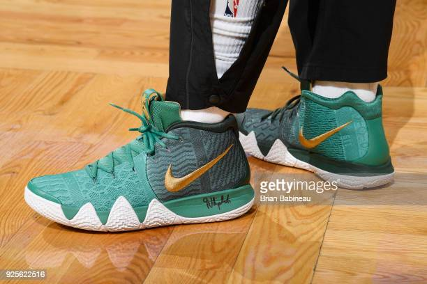 The sneakers of Kyrie Irving of the Boston Celtics as seen before the game against the Charlotte Hornets on February 28 2018 at the TD Garden in...