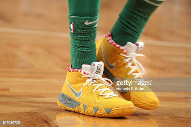 The sneakers of Kyrie Irving of the Boston Celtics as seen during the game against the Cleveland Cavaliers on February 11 2018 at TD Garden in Boston...