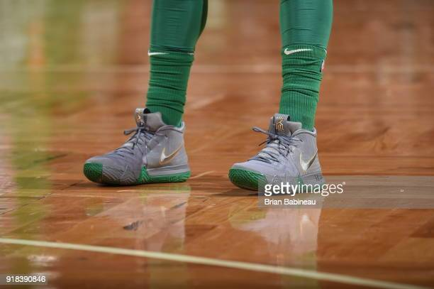 The sneakers of Kyrie Irving of the Boston Celtics as seen during the game against the LA Clippers on February 14 2018 at the TD Garden in Boston...