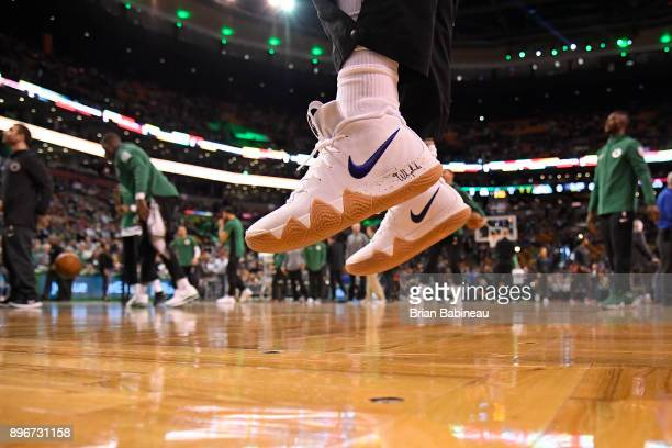 The sneakers of Kyrie Irving of the Boston Celtics before the game against the Miami Heat on December 20 2017 at the TD Garden in Boston...