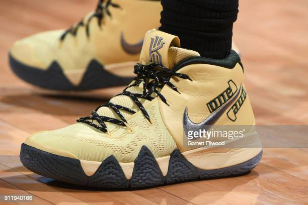 The sneakers of Kyrie Irving of the Boston Celtics before the game against the Denver Nuggets on January 29 2018 at the Pepsi Center in Denver...