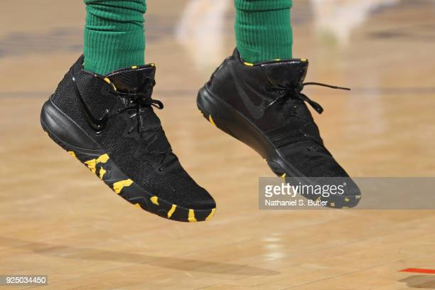 The sneakers of Kyrie Irving of the Boston Celtics before the game against the New York Knicks on February 24 2018 at Madison Square Garden in New...
