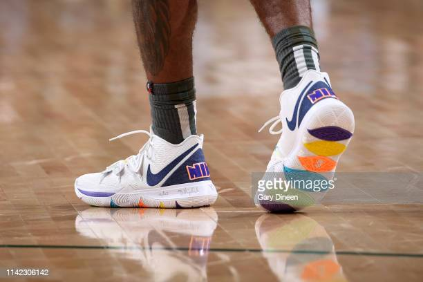 The sneakers of Kyrie Irving of the Boston Celtics during Game Five of the Eastern Conference Semifinals of the 2019 NBA Playoffs against the...