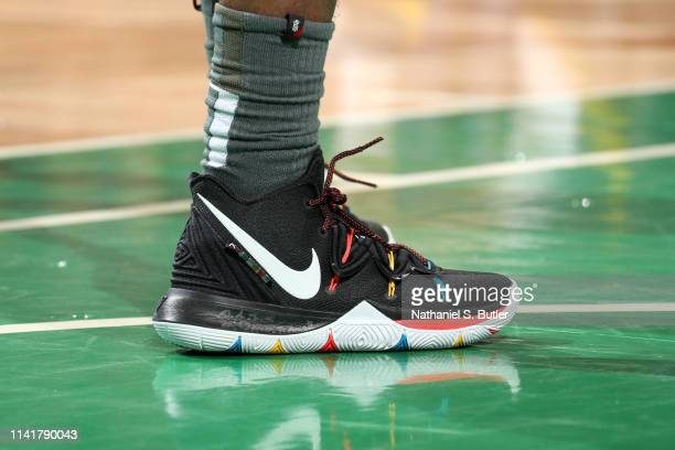 The sneakers of Kyrie Irving of the Boston Celtics during Game Four of the Eastern Conference Semifinals of the 2019 NBA Playoffs against the...