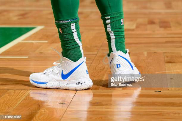 The sneakers of Kyrie Irving of the Boston Celtics during the game against the Houston Rockets on March 3 2019 at the TD Garden in Boston...