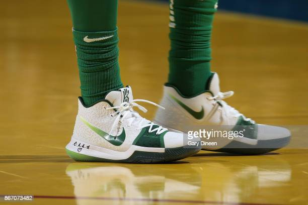 The sneakers of Kyrie Irving of the Boston Celtics during the game against the Milwaukee Bucks on October 26 2017 at the UWMilwaukee Panther Arena in...