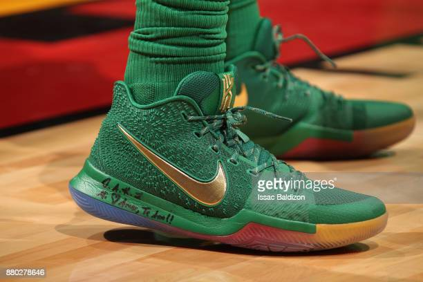 The sneakers of Kyrie Irving of the Boston Celtics during the game against the Miami Heat on November 22 2017 at AmericanAirlines Arena in Miami...