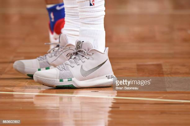The sneakers of Kyrie Irving of the Boston Celtics during the game against the Philadelphia 76ers on November 30 2017 at the TD Garden in Boston...