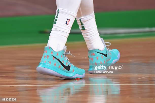 The sneakers of Kyrie Irving of the Boston Celtics during the game against the Denver Nuggets on December 13 2017 at the TD Garden in Boston...