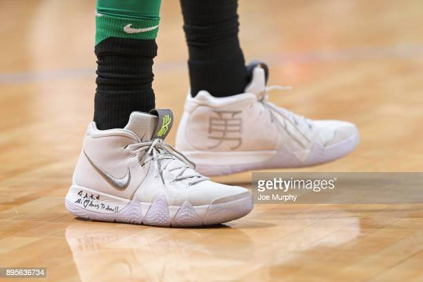 The sneakers of Kyrie Irving of the Boston Celtics during the game against the Memphis Grizzlies on December 16 2017 at FedEx Forum in Memphis Ohio...