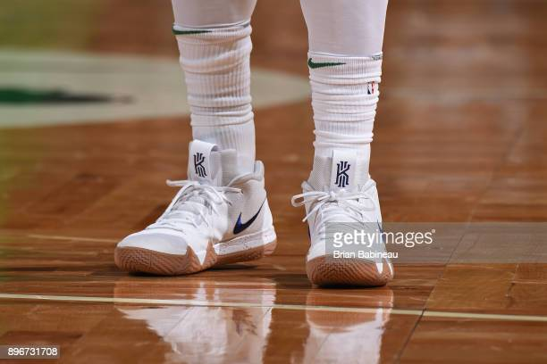 The sneakers of Kyrie Irving of the Boston Celtics during the game against the Miami Heat on December 20 2017 at the TD Garden in Boston...