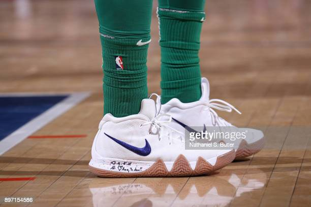 The sneakers of Kyrie Irving of the Boston Celtics during the game against the New York Knicks on December 21 2017 at Madison Square Garden in New...