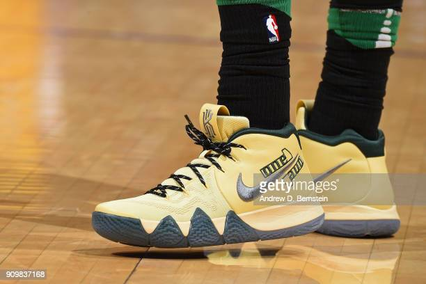 The sneakers of Kyrie Irving of the Boston Celtics during the game against the Los Angeles Lakers on January 23 2018 at STAPLES Center in Los Angeles...