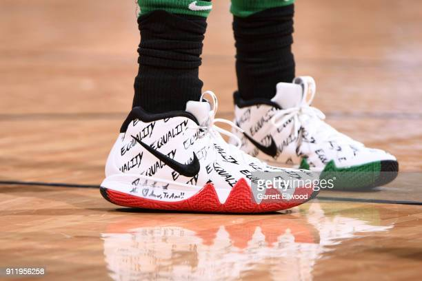 The sneakers of Kyrie Irving of the Boston Celtics during the game against the Denver Nuggets on January 29 2018 at the Pepsi Center in Denver...