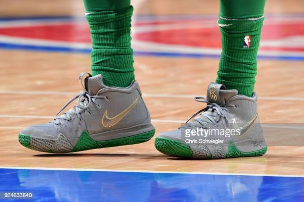 The sneakers of Kyrie Irving of the Boston Celtics during the game against the Detroit Pistons on February 23 2018 at Little Caesars Arena in Detroit...