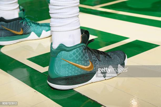 The sneakers of Kyrie Irving of the Boston Celtics during the game against the Charlotte Hornets on February 28 2018 at the TD Garden in Boston...