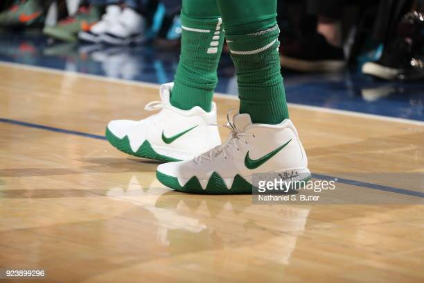 The sneakers of Kyrie Irving of the Boston Celtics seen during the game against the New York Knicks on February 24 2018 at Madison Square Garden in...