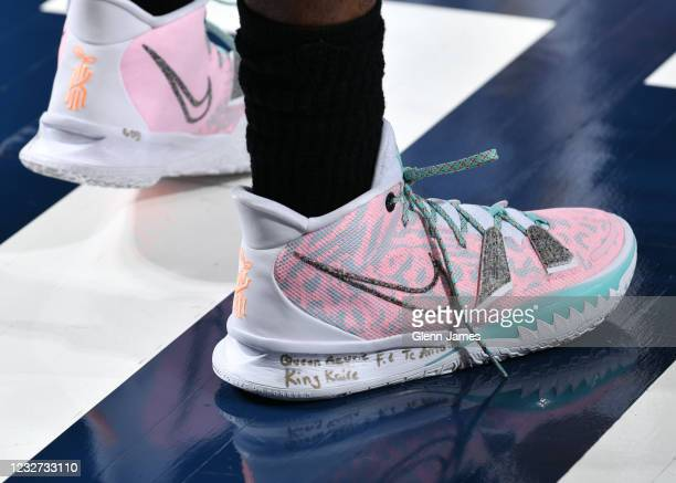 The sneakers of Kyrie Irving of the Brooklyn Nets during the game against the Dallas Mavericks on May 6, 2021 at the American Airlines Center in...