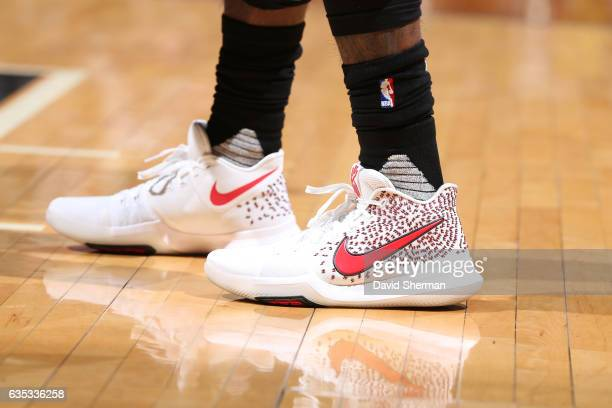 The sneakers of Kyrie Irving of the Cleveland Cavaliers are seen before a game against the Minnesota Timberwolves on February 14 2017 at the Target...